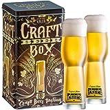 Kalea Beer Box | Metallbox mit 3D-Prägung | 4 X 0.33 L Bierspezialitäten | Inkl. 2 Verkostungsgläser (Edition Craft Bier)