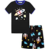 Irevial Pijama para Niños,Pijamas de Manga Larga 6-15 Años-Dinosaurio/camión/astronave/excavador/Cohete Top y pantalón Largo