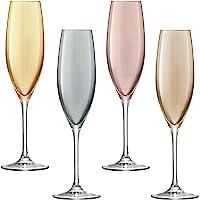 LSA PZ10 Lot de 4 flûtes à Champagne assorties Polka, 225 ml, métallisées