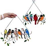 PATHD Vogels op een draad, gebrandschilderd glas venster opknoping Suncatcher tuin vogels decoratie cadeau voor minnaar moede