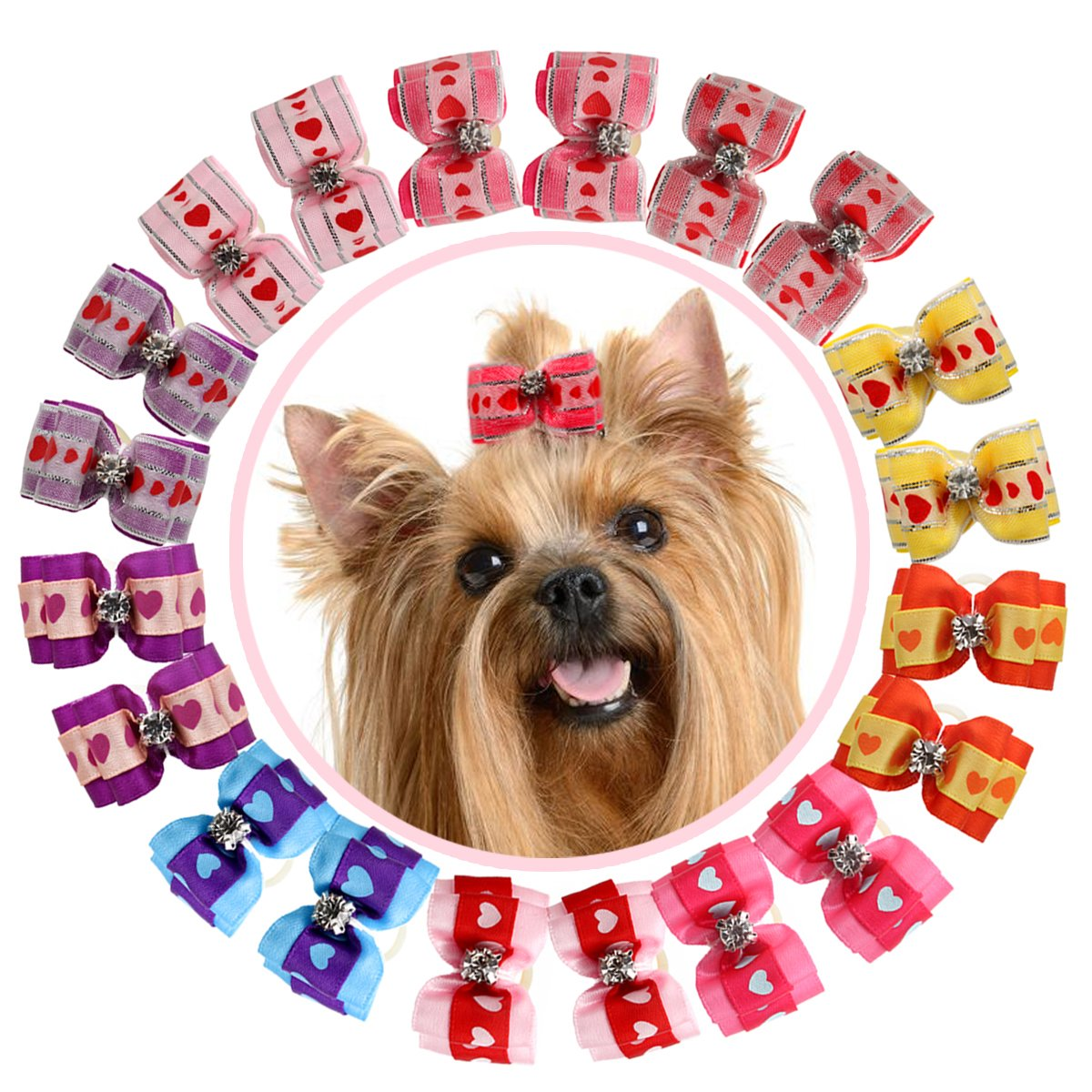 HOLLIHI 20 pcs/10 Pairs Adorable Grosgrain Ribbon Pet Dog Hair Bows with Elastic Rubber Bands – Doggy Kitty Bowknots Topknot Grooming Accessories Set for Long Hair Puppy Cat