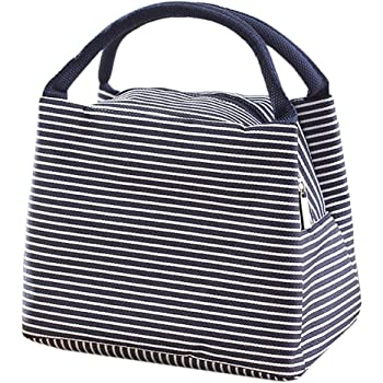 Pingenaneer Lunch Bag Tote Bag Reusable Lunch Organizer Waterproof Lunch  Holder Container for Aldults Women (Blue stripes) ee7e6b3f96549