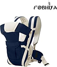 Fobhiya International Kids Adjustable Hands-Free 4-In-1 Baby Carrier Bag With Comfortable Head Support & Buckle Straps (Dark Blue)