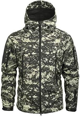 SZAWSL Military Waterproof Men's Softshell Jacket Fleece Lining Camouflage Outdoor Coat Tactical Jacket