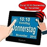 """iGuerburn Digitaler Sprechende Kalender Touchscreen Wecker Tag mit 8"""" Großer Bildschirm für Demenz, Alzheimer, Senioren / 6 Sprachen, Sprecher Funktion & Ärzte Erinnerung (Schwarz)"""