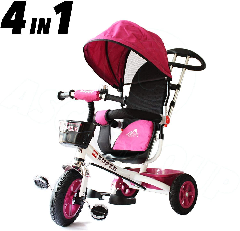 All Carretera Triciclo Niños 4 IN 1 Rosa/Blanco Trike – Empujar Pedal Niños Triciclo CE Aprobado