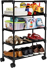 Happer Premium 4-Tiers Shoe Rack/Multipurpose Storage Rack with 4 Caster Wheels, Classic (Black & Silver)