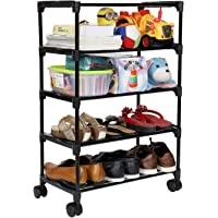 Happer Premium 5-Tiers Shoe Rack/Multipurpose Storage Rack with 4 Caster Wheels, Classic (Black & Silver)