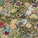 Viskose Leinen Stoff bunte Blumen beige Modestoffe