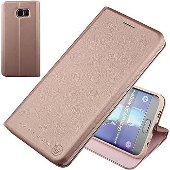 Nouske Lederklapphülle für Samsung Galaxy S6 Edge Plus Hülle handgefertigt Schutzhülle geschwungene Kanten mit Aufsteller und Kartenfach TPU Cover Tasche Pink Gold.