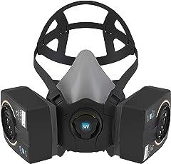 SolidWork filtrierende Mehrweg-Halbmaske im Set mit Wechselfiltern und Zubehör | Profi Lackiermaske zum Schutz gegen organische Gase, Dämpfe & Partikel