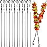 Maridergo Kebab Skewers, 12PCS Stainless Steel BBQ Kebab Meat Skewers Set, Flat Barbecue Shish Kebab Stick for Meat…