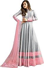 Monika Silk Mill Women's Georgette & Silk Semi Stitched Anarkali Suit (LTN104-1402A _Grey_ Free size)