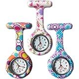 Boolavard® TM 3pcs Fleurs Silicone Surveillance de l'infirmière docteur paramédical Tunique Broche FOB Medical Watch, Lot de