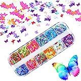 Kalolary 1Pcs Vlinder Nagel pailletten, Holografische Glitter nagel pailletten DIY Manicure Nagel Art Tips (C)