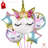 Party Propz Set of 5 Unicorn Balloons Combo for Unicorn Theme Party Decorations/Unicorn Theme Party Supplies