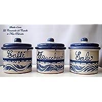 Set 3 Barattoli Sale Zucchero Caffé Linea Classica Blu Ceramica Le Ceramiche del Castello Handmade Pezzi Unici Made in…