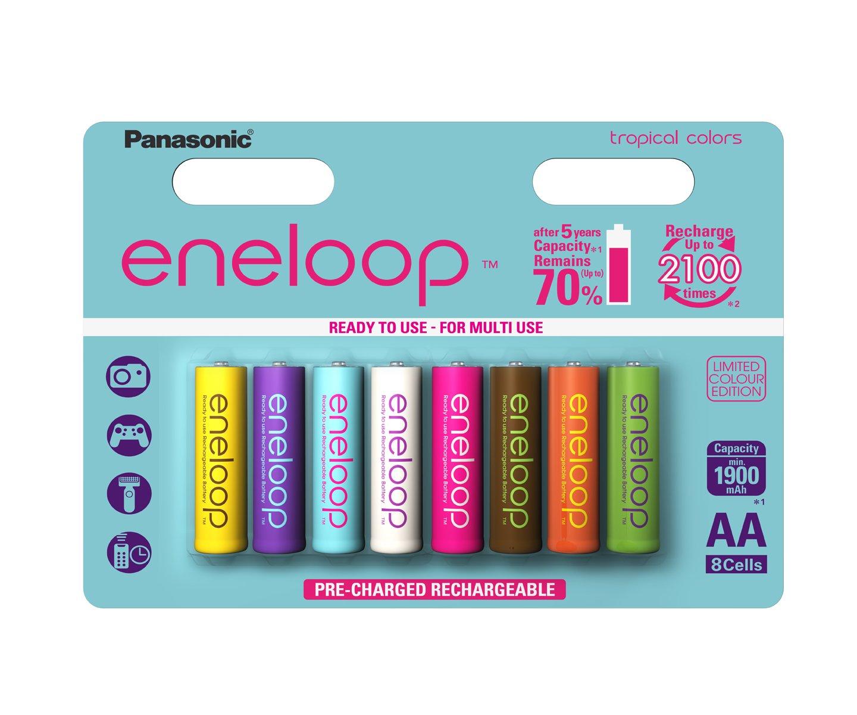 Panasolic eneloop - Batterie AA NI-MH pronte all'uso, 1.900 mAh, confezione da 8 pezzi eneloop AA T
