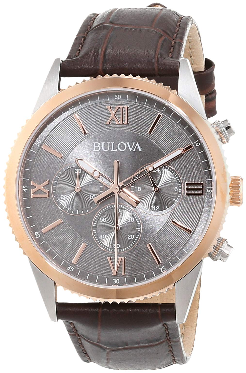 Bulova Mens Analogue Classic Quartz Watch with Leather Strap 98A219