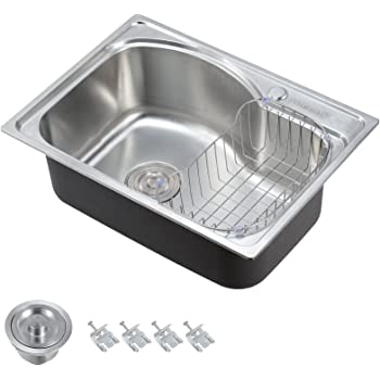 Voilamart Stainless Steel Kitchen Sink Single Bowl With Roll Mat Plumbing Kit