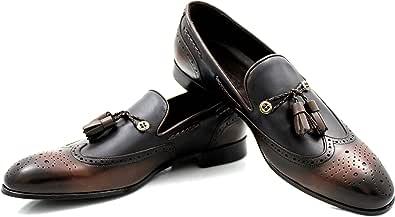 CANNERI Mocassini Uomo con Nappe - 9577 - Elegante Loafer - Scarpa Classica da Lavoro - Scarpa da Slittamento - Scarpa Antiscivolo per Business e Casuale in Pelle con Design e Stile
