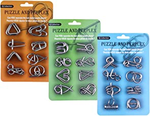 15000P 24St. Metall Knobelspiele Set Rätsel Brainteaser IQ Spiel Knifflige Puzzle 3D Denkspiel Logikspiele Adventskalender Inhalt Geduldspiele für Kinder und Erwachsene