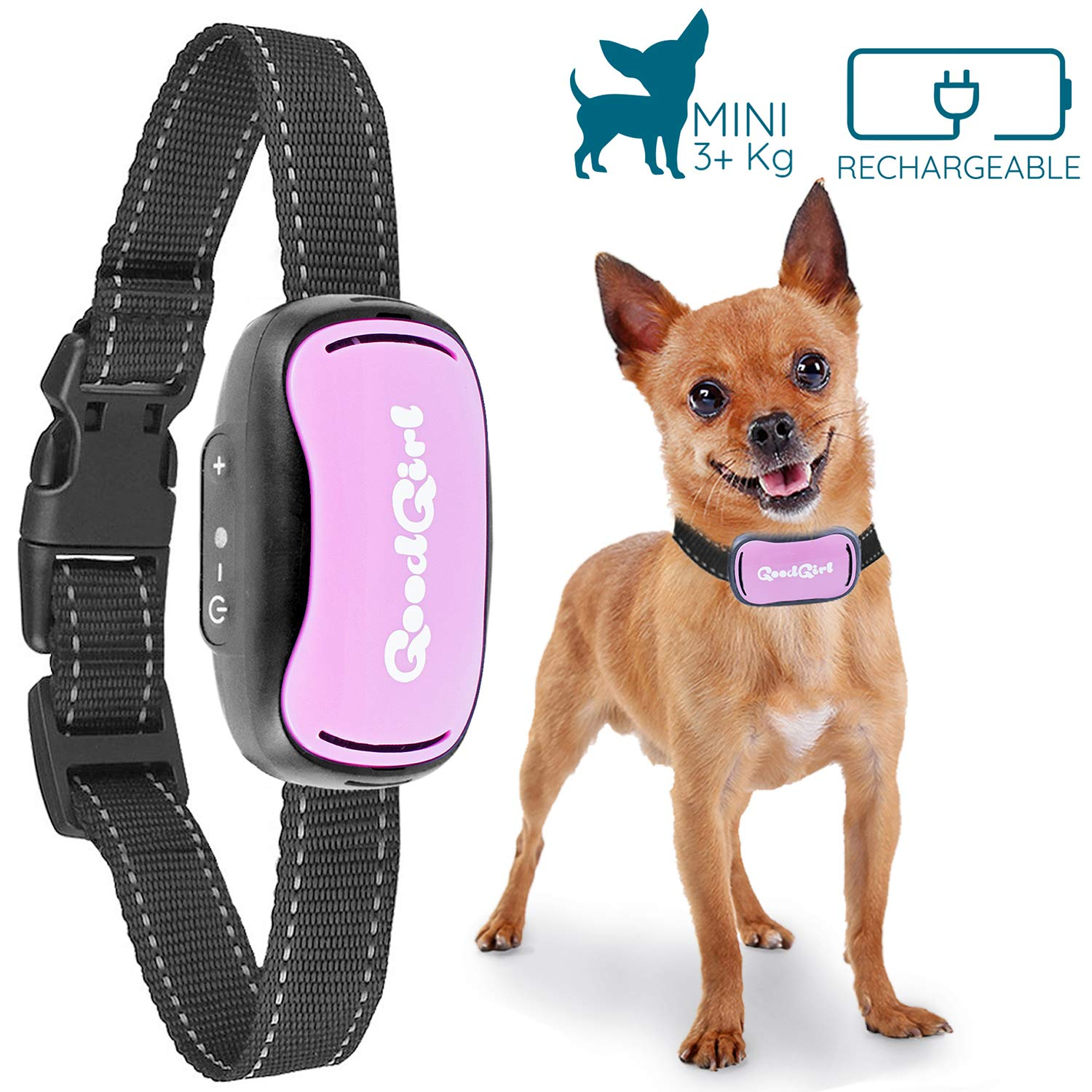 GoodBoy Small Dog Bark Collar Rechargeable And Weatherproof Vibrating Bark Deterrent for Small And Medium Dogs 3+kg (Pink)