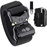 Mens Tactical Belt,Military Belt Rigger 1.5 Inches Nylon Web Work Belt with Heavy Duty Buckle, Gift with Tactical Molle Pouch