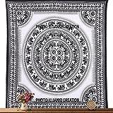 Janki Creation - Tapiz de mandala blanca y negra con diseño de elefante hippie, para colgar en la pared, para colgar en la pared o en la playa, para yoga, playa o tapiz