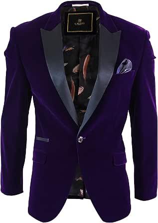 Men Soft Velvet Violet Black 1 Button Dinner Jacket Tuxedo Blazer Smart Casual Fit