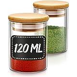 Pot a Epices en Verre - Lot de 10 Bocaux en Verre et 10 Etiquettes - 120ml - Hermétique - Lavable au Lave-vaisselle