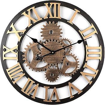 MRKE Horloge Murale Geante, 58CM 6 Gear Horloge Murale Silencieuse Bois Horloge  Murale Vintage ( b97d8b1dde30