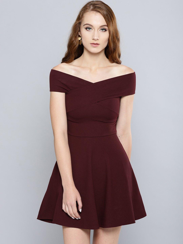 Veni VIDI VICI Maroon Bandage Bardot Skater Dress - Gia Designer 64d5fb891