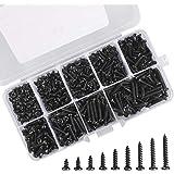 Zelftappende schroeven Set 450 stuks Zwart zelftappende ronde kop Schroevenset Kop Microschroeven met opbergdoos voor plastic