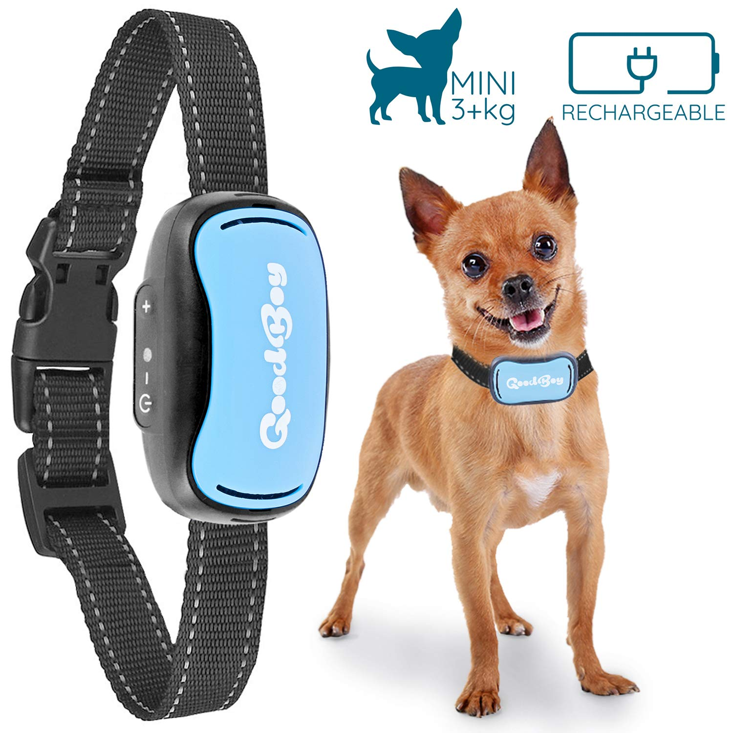 Small Dog Bark Collar by GoodBoy Rechargeable And Weatherproof Vibrating Bark Deterrent for Small And Medium Dogs 3+kg (Blue)
