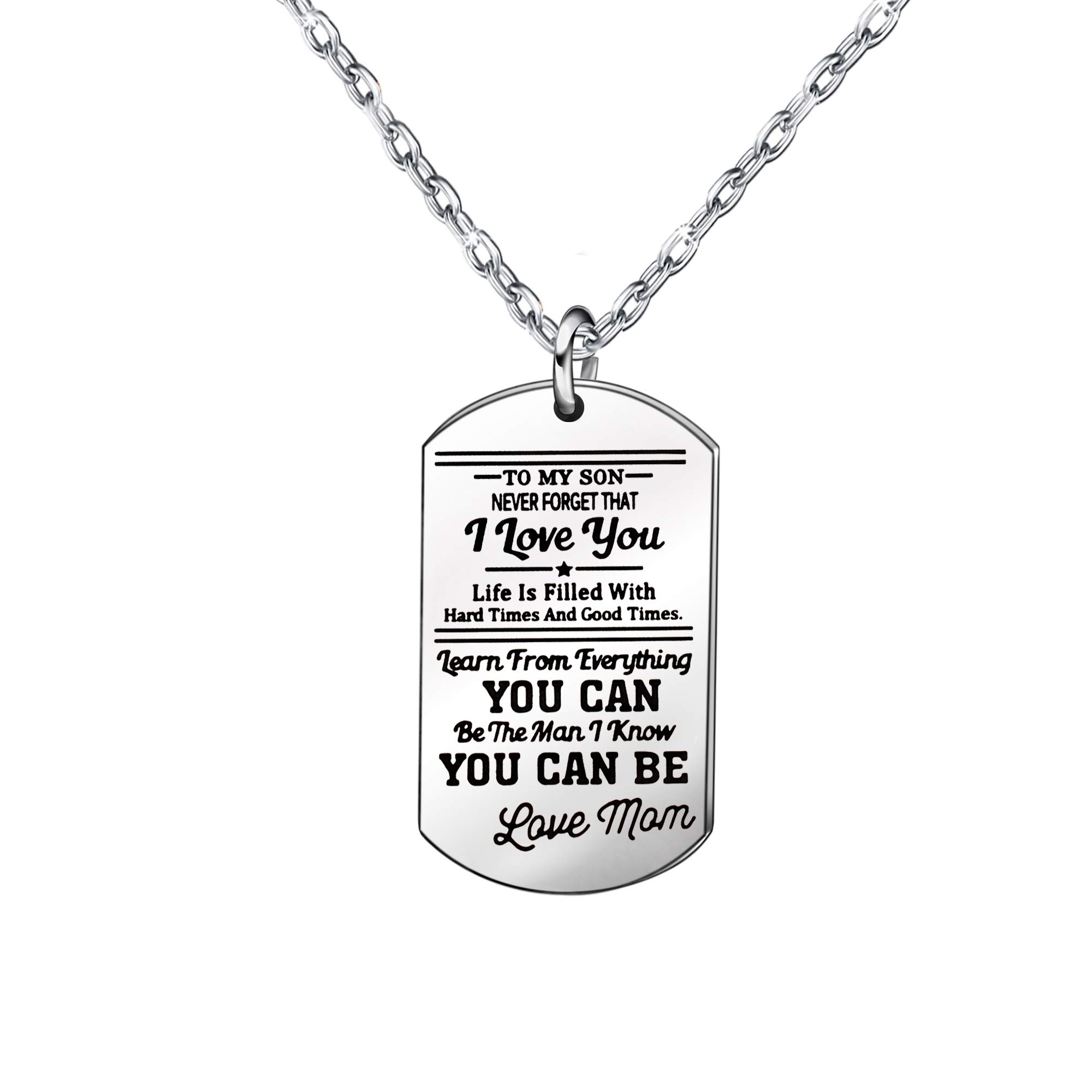 Gifts for Son – Silver Long Chain Necklaces Stainless Steel,Graduation Gift,Birthday Gift for Kids
