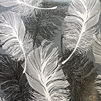 Coloroll Feather Blown Vinyl Wallpaper in Black & White M0925 by Coloroll