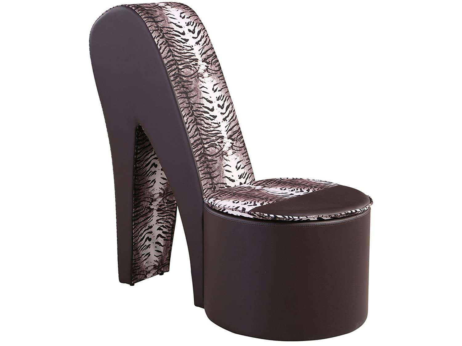 Stiletto shoe chair - Stiletto Shoe Chair With Storage Faux Leather Girls High Heel Bedroom Seat Brown Amazon Co Uk Kitchen Home