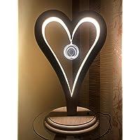 Lampada, Lume da tavolo in legno. Cuore