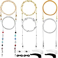 Frienda 6 Pezzi Catene Occhiali Catenine Fermo Occhiali Elegante Supporto Cinturino Occhiali di Perline