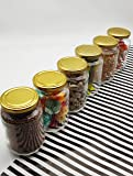 VP STORES® 500 ML Glass Jar Round Shape,with Golden Metal Color Cap Rust Proof Air Tight, (Set of 6 Pcs)