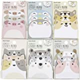 KINGSEVEN 6 Packs Cute Animal Cartoon Sticky Notes Self-Stick Memo Pad Sets for Pet Lovers Kids Girls