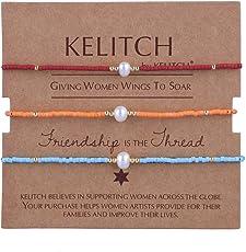 KELITCH Armbänder Damen Herren Japanisch Rocailles Perlen 3 Pcs Freundschaftsarmbänder Shell Perle Einstellbar Handarbeit Paar Armband Armband Frauen Männer