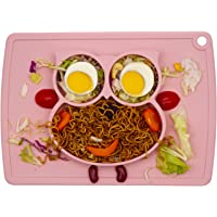 Baby Silicone Placemat, Non-Slip Feeding Plate for Toddlers Babies Kids with Strong Suction Fits Most Highchair Trays BPA-Free FDA Approved, Dishwasher and Microwave Safe (Rose Owl)