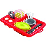 Jouets Ecoiffier – 956 - Égouttoir à vaisselle pour enfants + vaisselle et couverts – 22 pièces - Dès 18 mois – Fabriqué en F