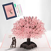 3D Pop Up Card, Blossom Pop-Up Greeting Card with Romantic Lovers Under Cherry Tree, Wedding Card Greeting Cards for Wedding, Christmas, Birthday, Anniversary, Valentine's Day