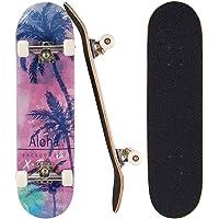 Sumeber Skateboard per principianti 80 x 20 cm, tavola completa con cuscinetti ABEC-7 doppio kick, regalo di compleanno…