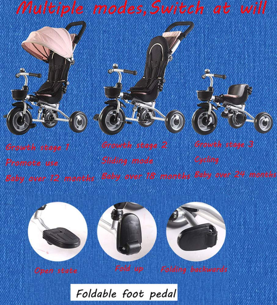 BGHKFF Childrens Folding Tricycle 6 Months To 6 Years Light And Sturdy Kids Tricycle Detachable And Adjustable Push Handle 3-Point Safety Belt Child Trike Maximum Weight 50 Kg,Pink BGHKFF ★ 4-in-1 multi-function: convertible into stroller and tricycle. Remove the backrest and awning as a tricycle. ★Material: Carbon steel + environmentally friendly plastic, suitable for children from 6 months to 6 years old, maximum weight: 50 kg ★ Tricycle foldable, space saving, easy to carry, is the best travel companion, 3-point seat belt, front wheel clutch, rear wheel brake 2