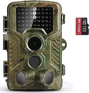 COOLIFE 21MP 1080P HD Caméra de Chasse Caméra de Surveillance Étanche 49 LEDs Grand Angle 125 ° De Vision Nocturne 25m Traque IR Caméra de Jeu Nocturne Infrarouge