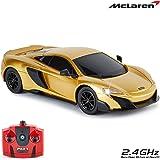 CMJ RC Cars ™ McLaren 675LT officiellt licensierade fjärrkontroll bil 1:24 Skala arbetsbelysning 2.4Ghz Gold